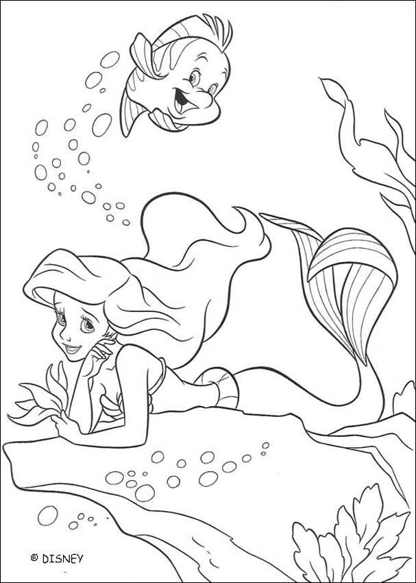 The Little Mermaid coloring pages Flounder and Ariel