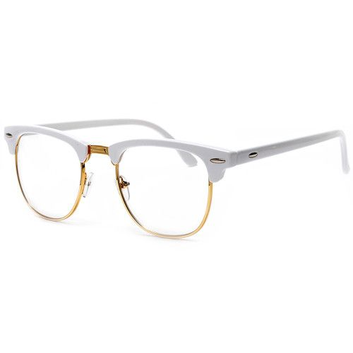 Retro Inspired Half Frame Semi Rimless White Gold Clear
