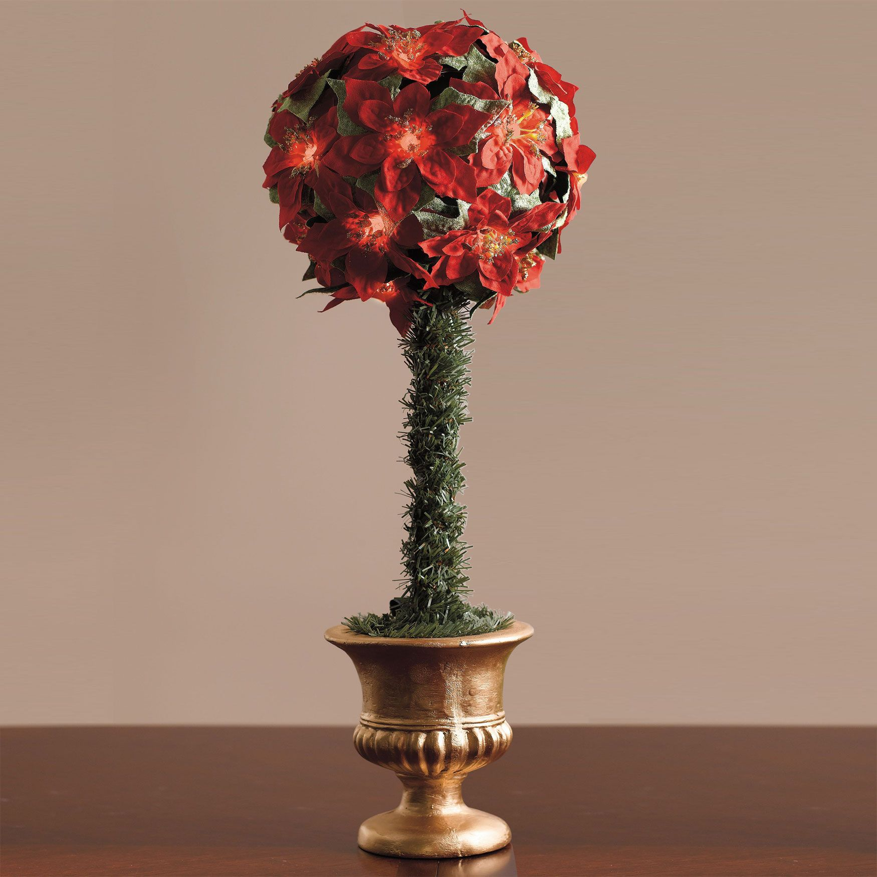 Cordless LED Poinsettia Ball Topiary | Christmas Decor ...