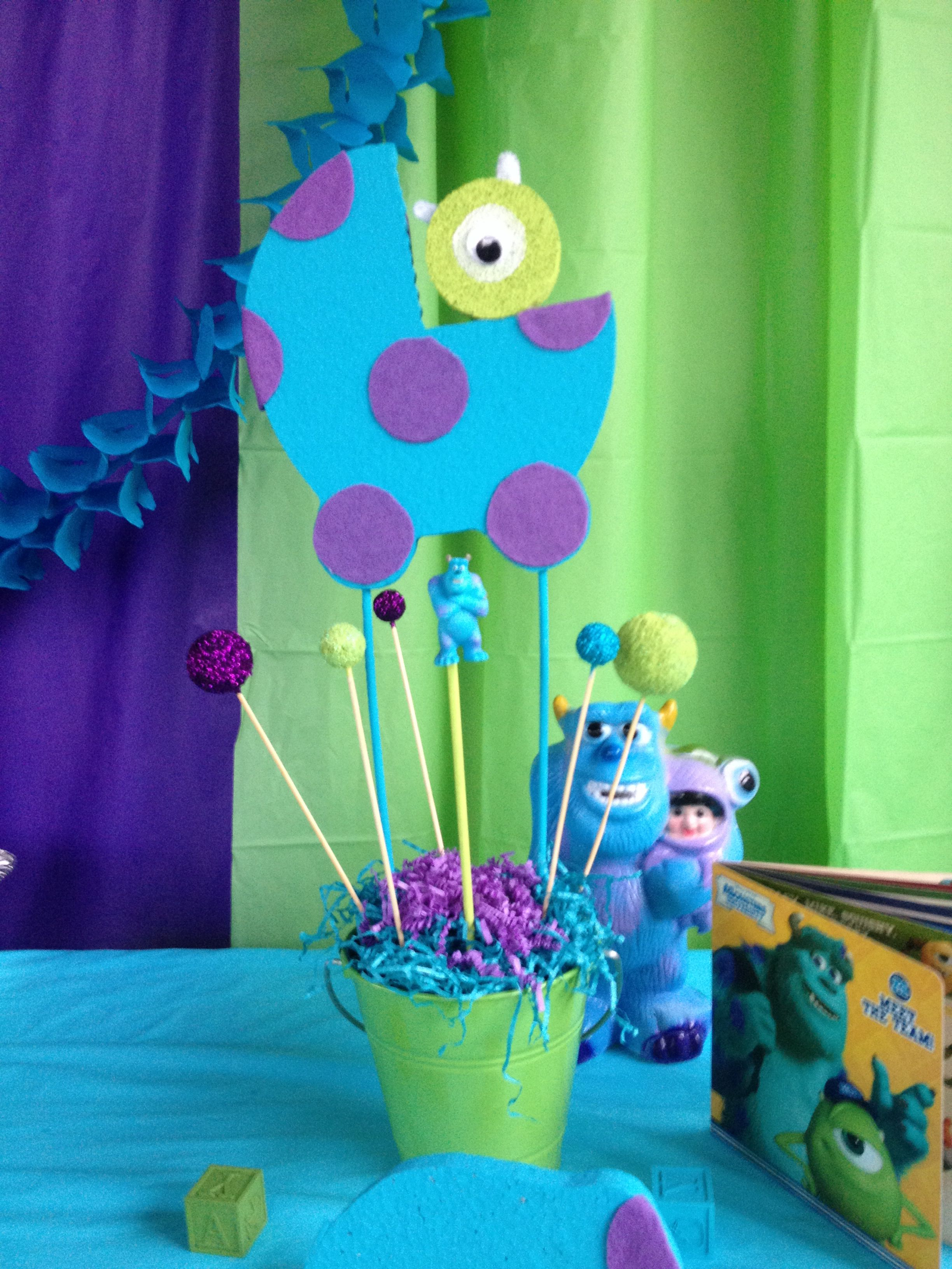 Monster Inc Baby Shower Decorations Monsters Inc Baby Shower Centerpiece Baby Pinterest Costco