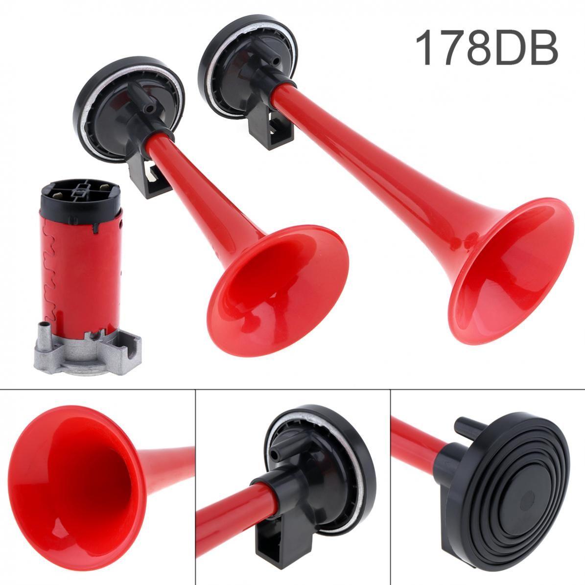 178DB Super-Loud Red 12V Air Horn Dual Trumpet Compressor Car Truck Train Boat