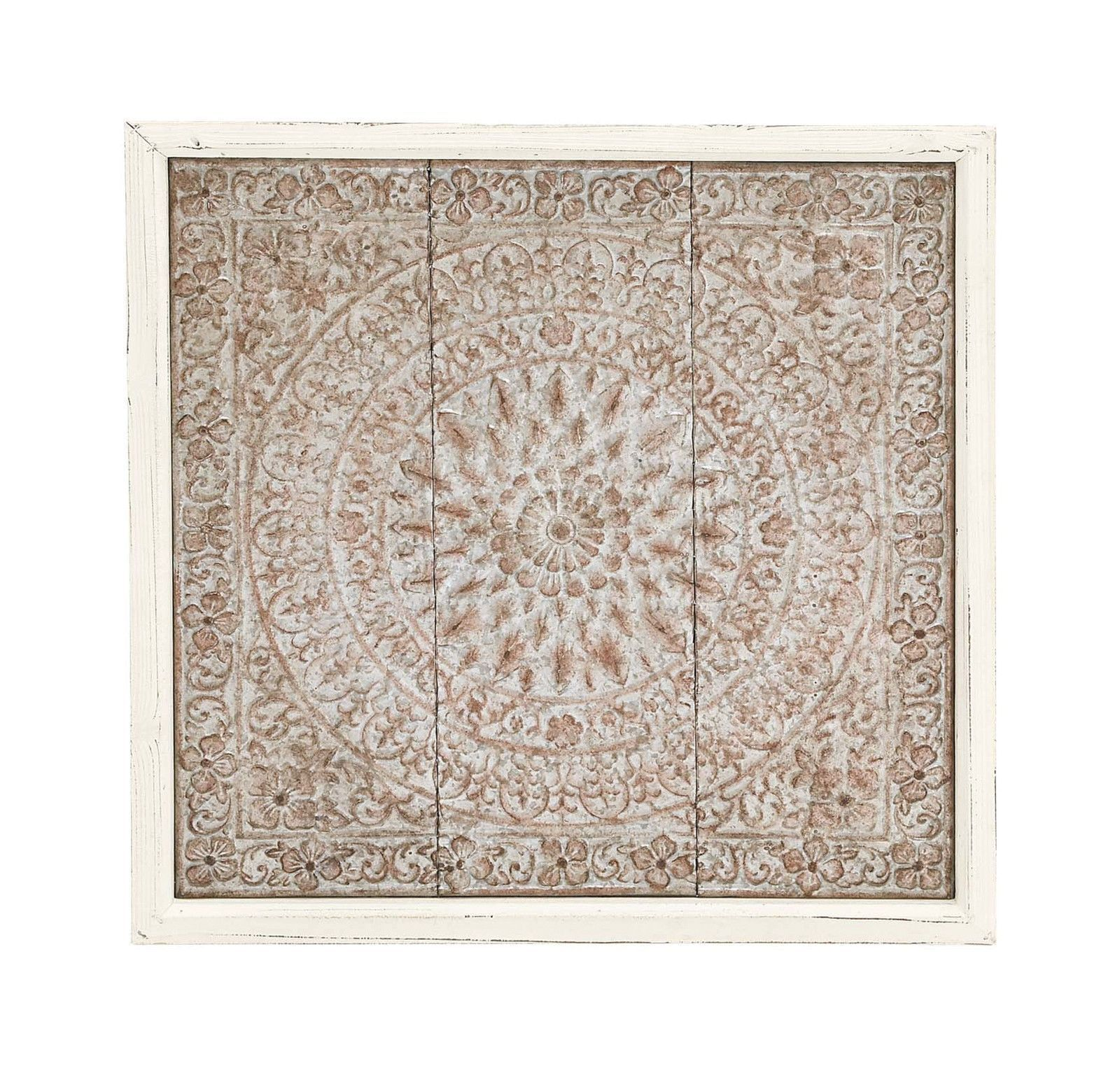 Distressed White Mosaic Look Relief Metal Wood Wall Art Panel Indian Style Decor Wood Wall Plaques Wood Wall Decor Wall Decor