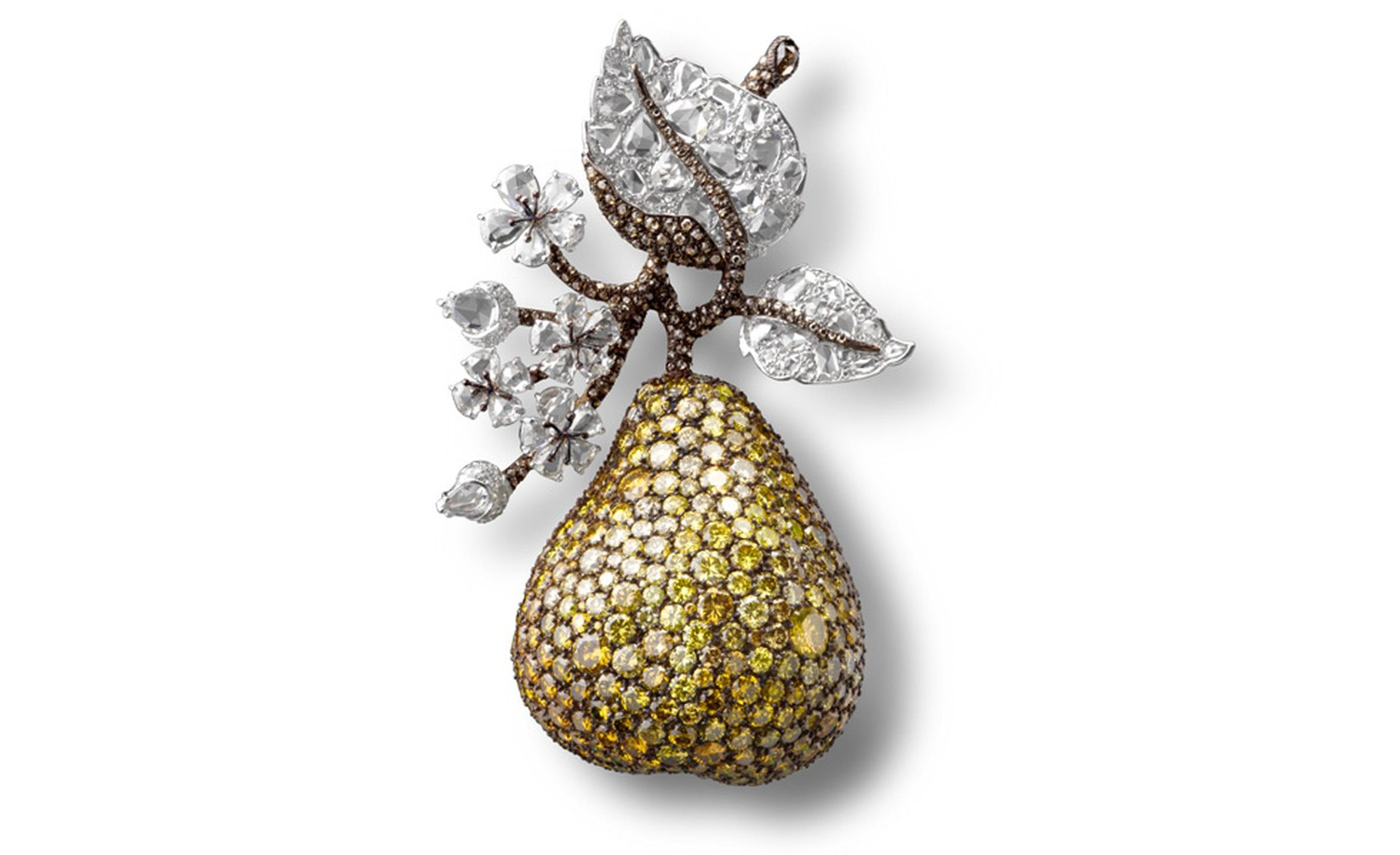 Pear Clip with white, fancy vivid and intense yellow and brown diamonds in platinum and gold