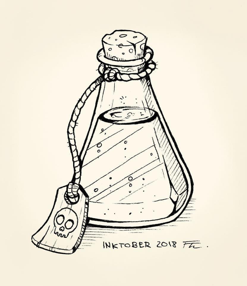 Inktober 2018 Day 22   inktober2018  drawing  illustration  bottle  potion  traditionalart  theresatobschall  ink  autumn  tag  helloween…