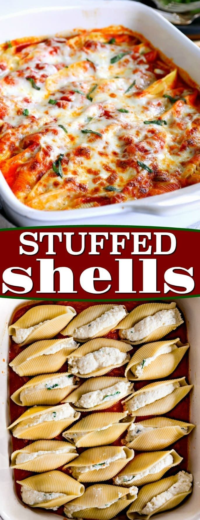 Stuffed Shells are the perfect easy, weeknight dinner. Jumbo pasta shells are stuffed with a smooth, creamy, cheesy filling flavored with fresh herbs and baked to absolute perfection. // Mom On Timeout via @