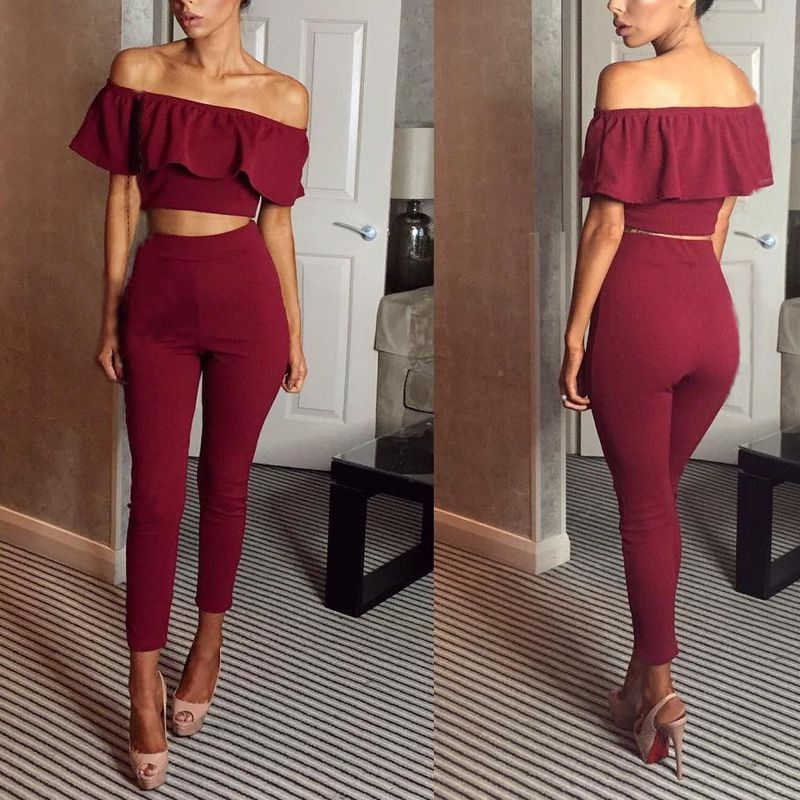 2e7364f056c Sexy Two-piece Set Off Shoulder Long Pants Suits Casual Outfit Romper