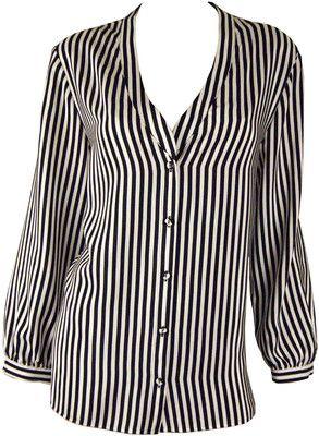 Mason Black and White Stripe Lace Back Blouse