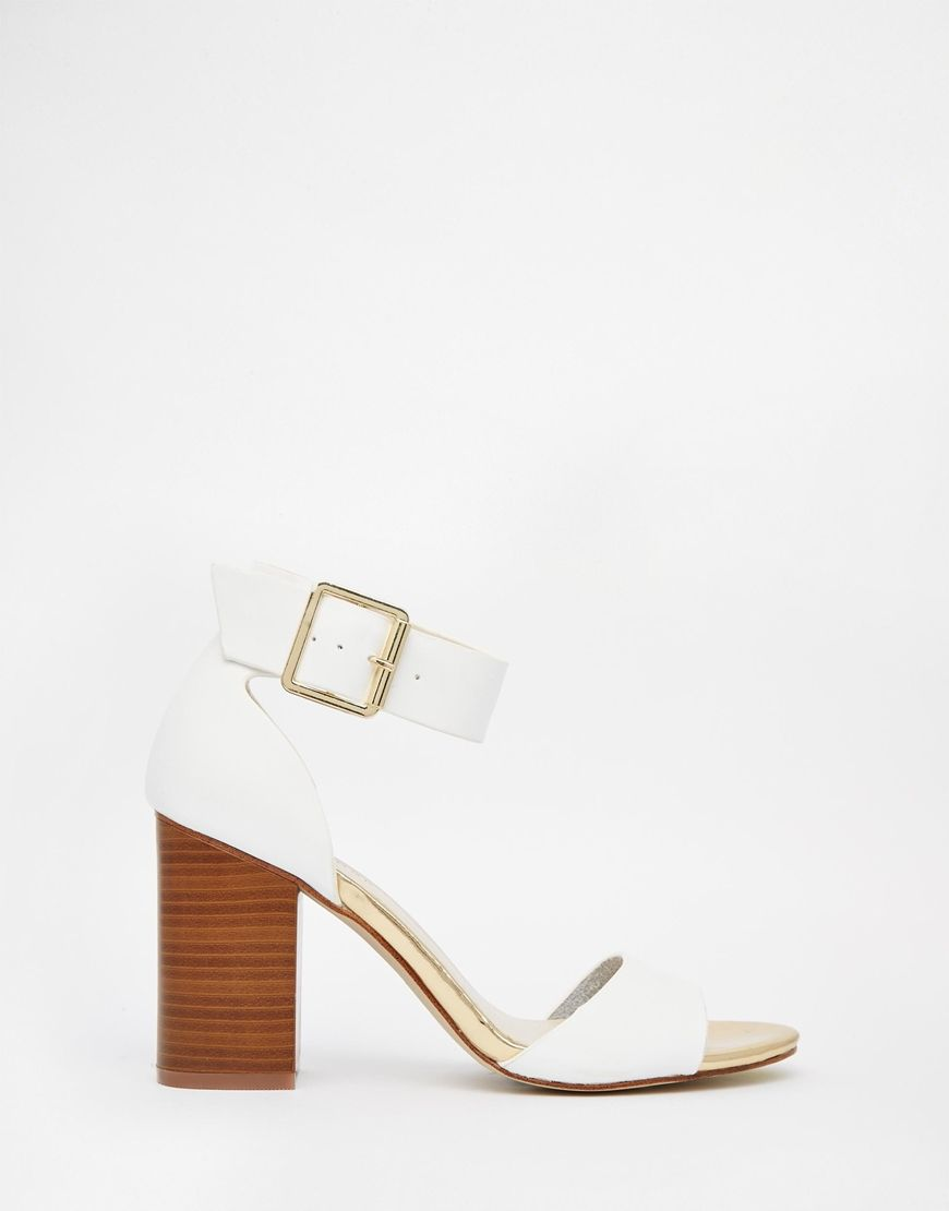 Look Pour White Block Heeled Sandals