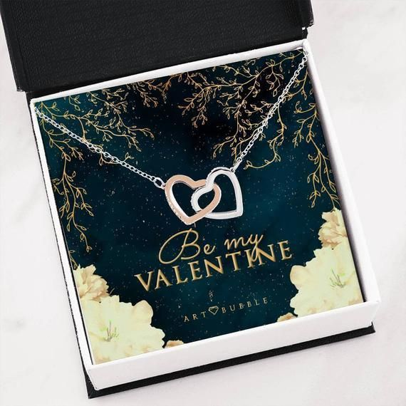 Be my Valentine Rose Heart Gold Necklace Card Valentines Day Gift For Her Girlfriend Gift Idea  #card #Day #Gift #Girlfriend #Gold #Heart #idea #necklace #Rose #Valentine #Valentines
