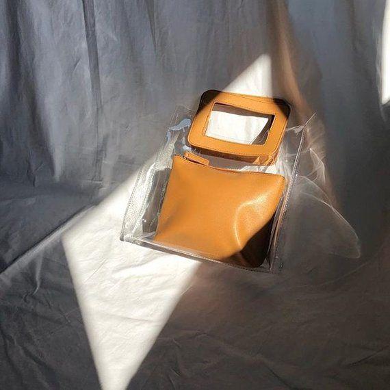 33c26f3d096 Brown Handle Transparent Tote Bag