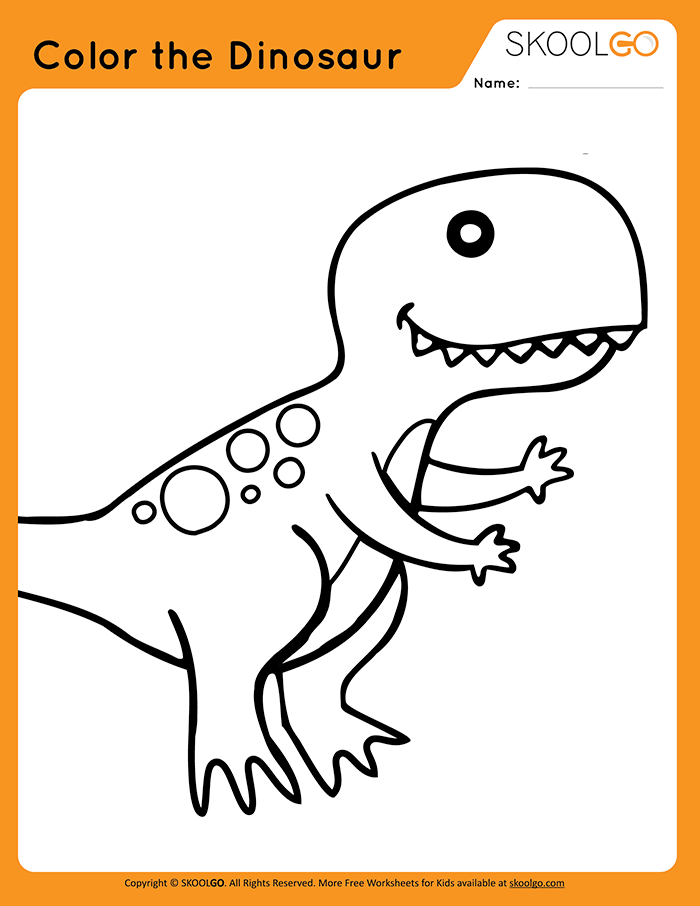 Color The Dinosaur Free Learning And Activity Worksheet Free Worksheets For Kids Worksheets For Kids Color Worksheets