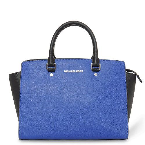 Michael Kors Selma Handbag Large Colorblock Leather Satchel ...