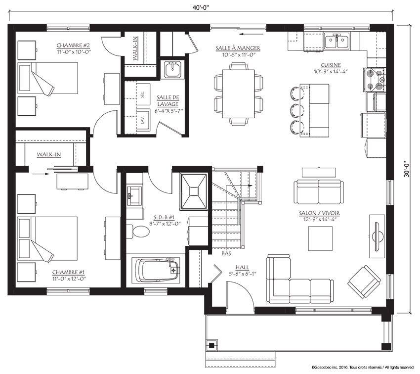 Modèle 504 Goscobec - Entrepreneur en constructions usinées - modele plan maison plain pied gratuit