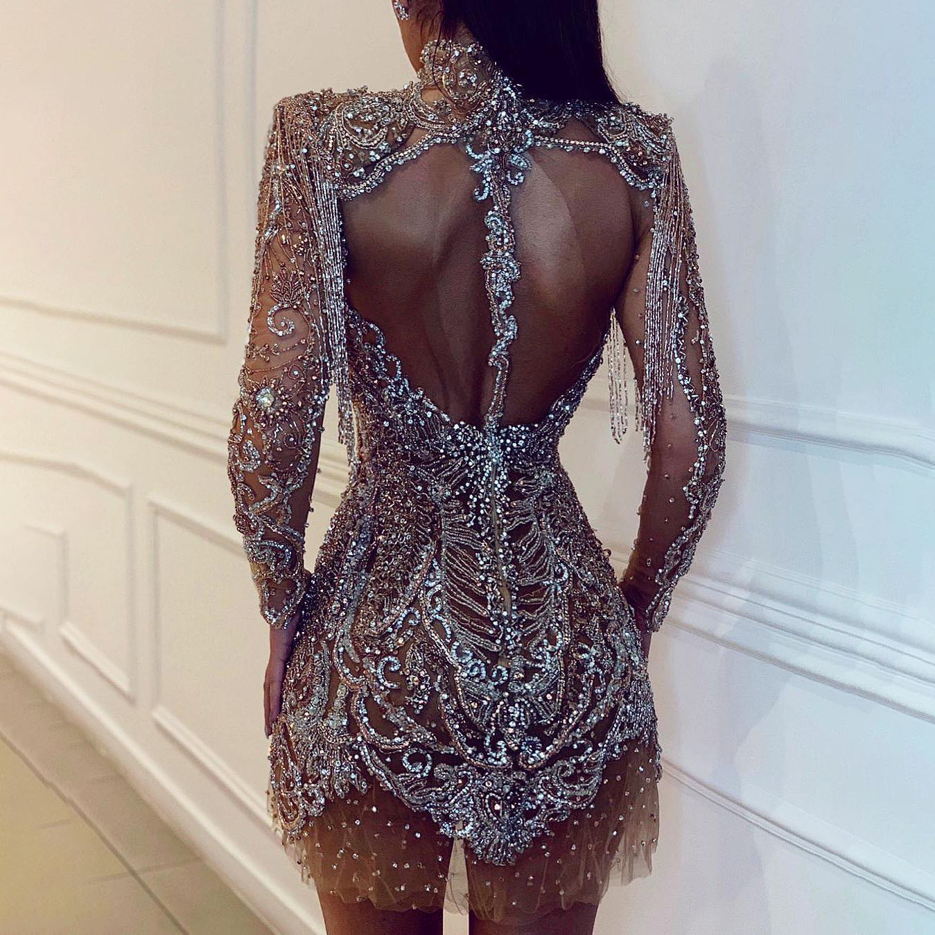 Naked back mesh party evening dress