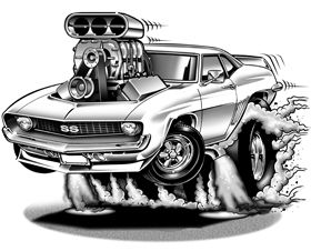 1969 Camaro Cartoon Illustration With Images Cartoon Car