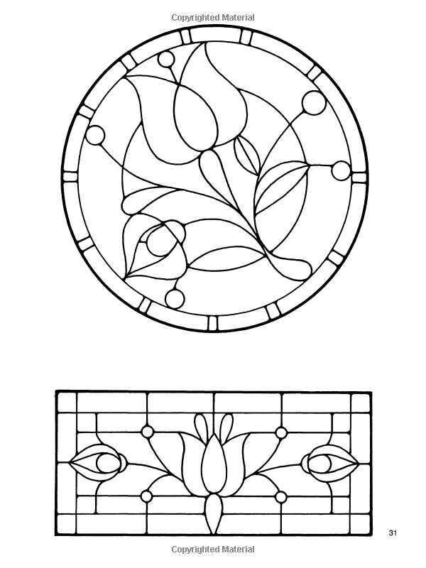 Amazon Floral Stained Glass Pattern Book Dover Instruction