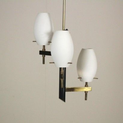 Lamp shades in white opal glass. Lampadario Anni 50 60 Particolare Lampadario Vintage Illuminazione A Parete Lampadario