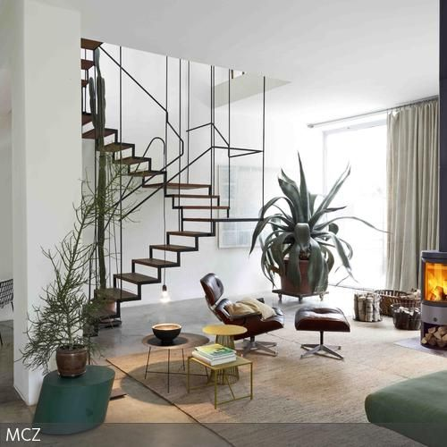 Moderne Treppe als Stilelement - moderne offene wohnzimmer