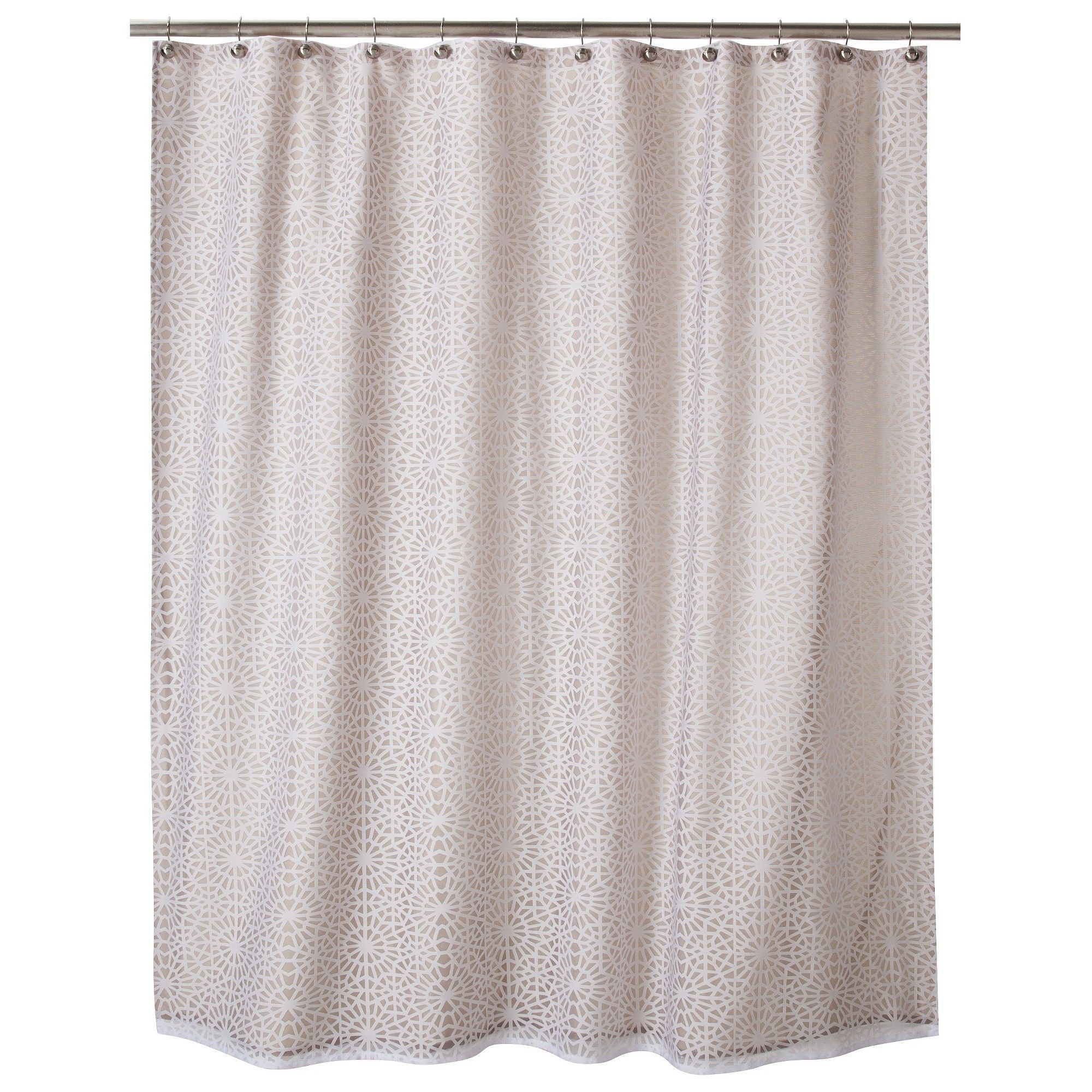 Geometric Burnout Shower Curtain Tan