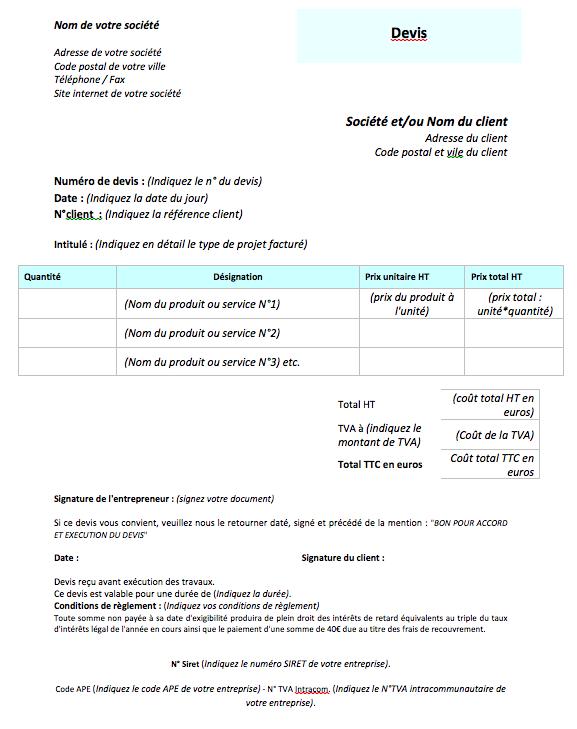 Exemple De Devis Batiment Exemple Devis Devis Batiment Livres De Comptabilite