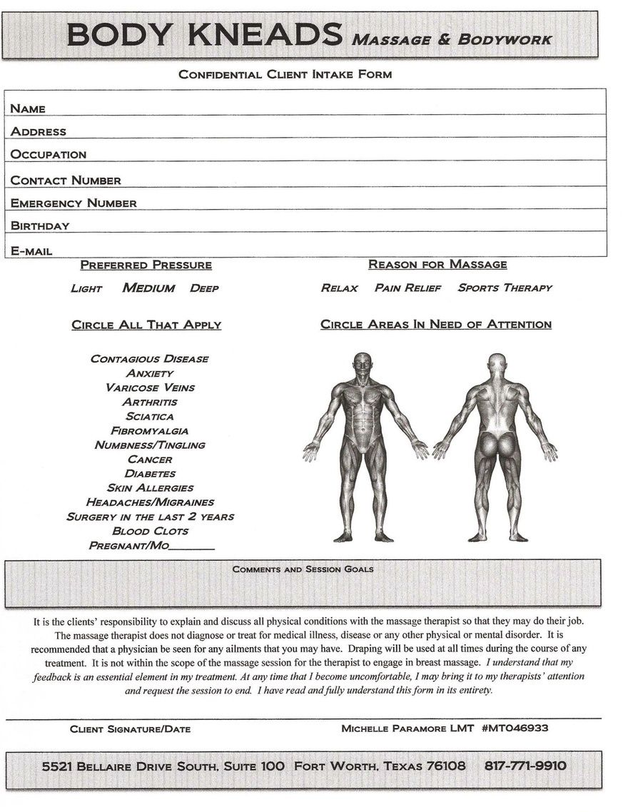 Body kneads massage bodywork fill out client consultation form in body kneads massage bodywork fill out client consultation form in advance fandeluxe Image collections