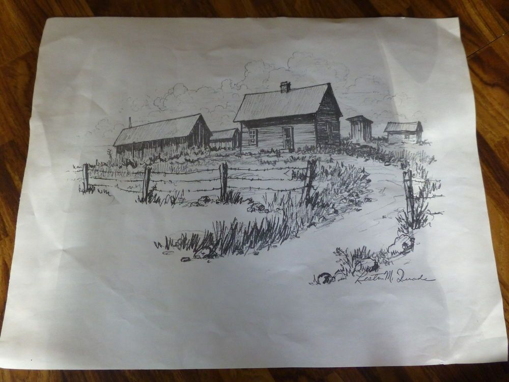 Lester M Duade Pencil Drawing Paper Copy Barn Old House Vintage Nice - copy barn blueprint 3