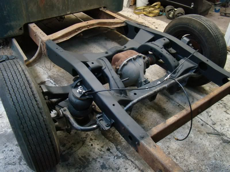 Thunderird IRS welded into the frame of an Ford F1 for