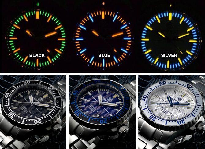 eb154654e7b Deep Blue Daynight 65 T100 Tritium illuminated dive watch. (Homage to  Marathon )