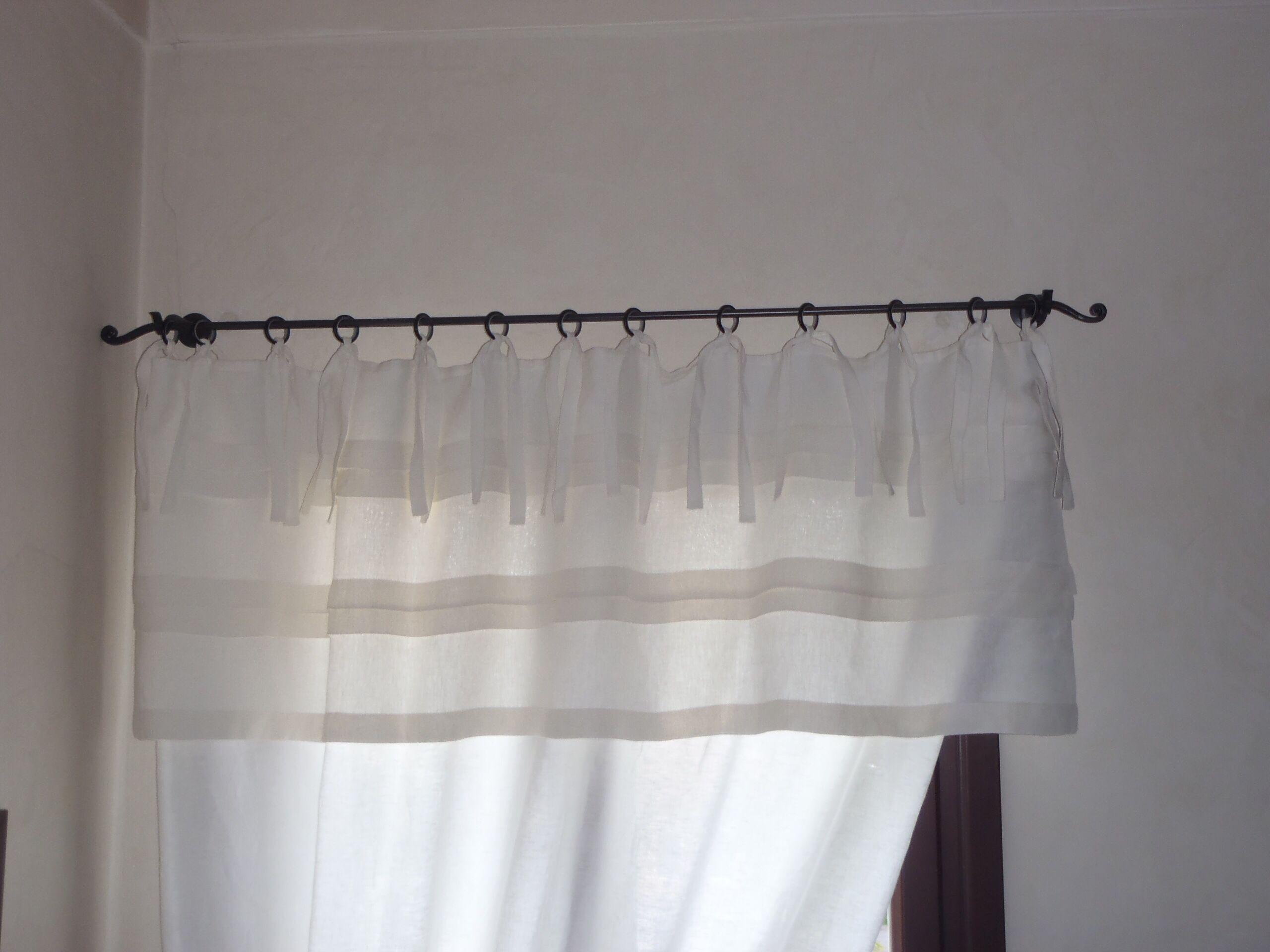 Mantovane Bagno ~ Mantovana per tenda a balze in puro lino tessuti e tendaggi