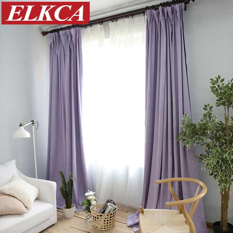 American Solid Color Thick Faux Linen Blackout Curtains For Living Room  Colorful Bedroom Curtains Luxury Curtains