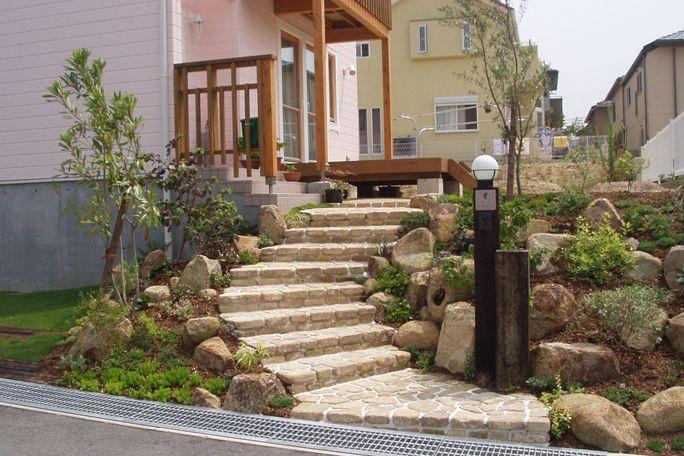 アンティークレンガ並べ階段 アプローチ 階段 エクステリア 庭