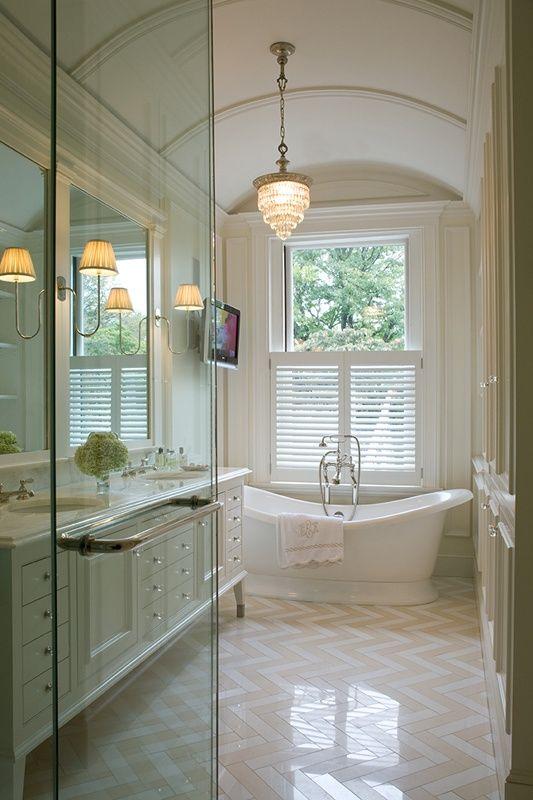 Cream And White Stone Polished Herringbone Pattern Bathroom Floor