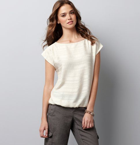 $49.50 LOFT Petite Metallic Satin Stripe Tee. Not sure if my shoulders are too broad, but I love the style!