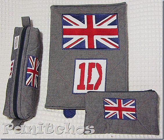 PANITCHOS - capa caderno tecido, estojo tecido, bordado One Direction