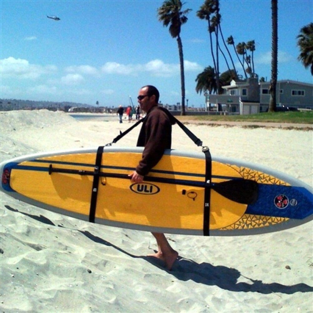 Big board schlepper stand up paddle board carrying straps for Paddle board fishing accessories
