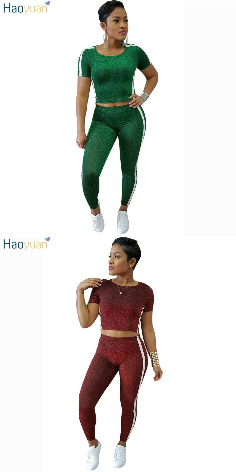 56cf76bedaa HAOYUAN Two 2 piece set womens elegant side striped short sleeve top and  pants suits casual