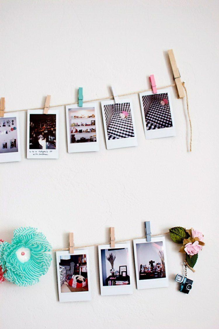 Fotos an garn festklemmen und die wand dekorieren - Wand dekorieren ideen ...