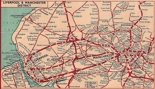 British Railways London Midland Region Rail Map Of Manchester