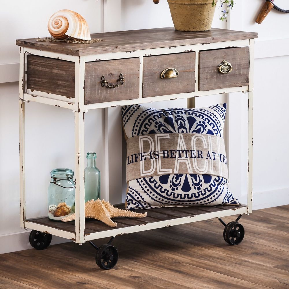 Evergreen distressed wooden console table with wheels