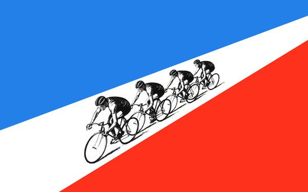 Awesome widescreen version of Kraftwerk's Tour de France album cover by megabit