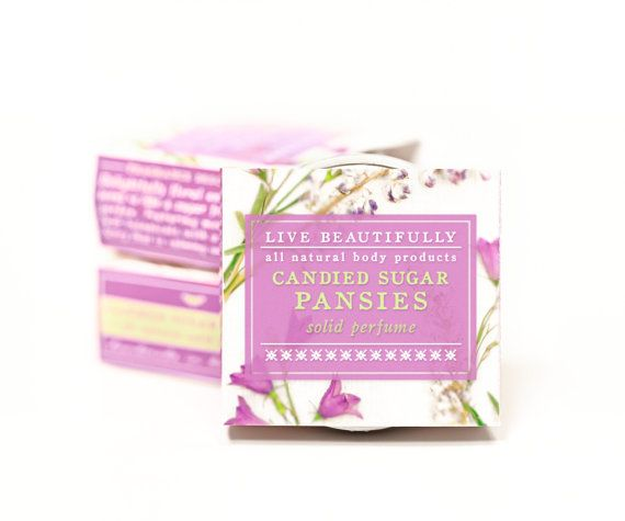 ➤ Fragrance: Candied Sugar Pansies ➤ Product Type: Solid Perfume ➤ Size: 1 (ONE) .65 oz. tin ➤ Price: $12.00 Candied Sugar Pansies -