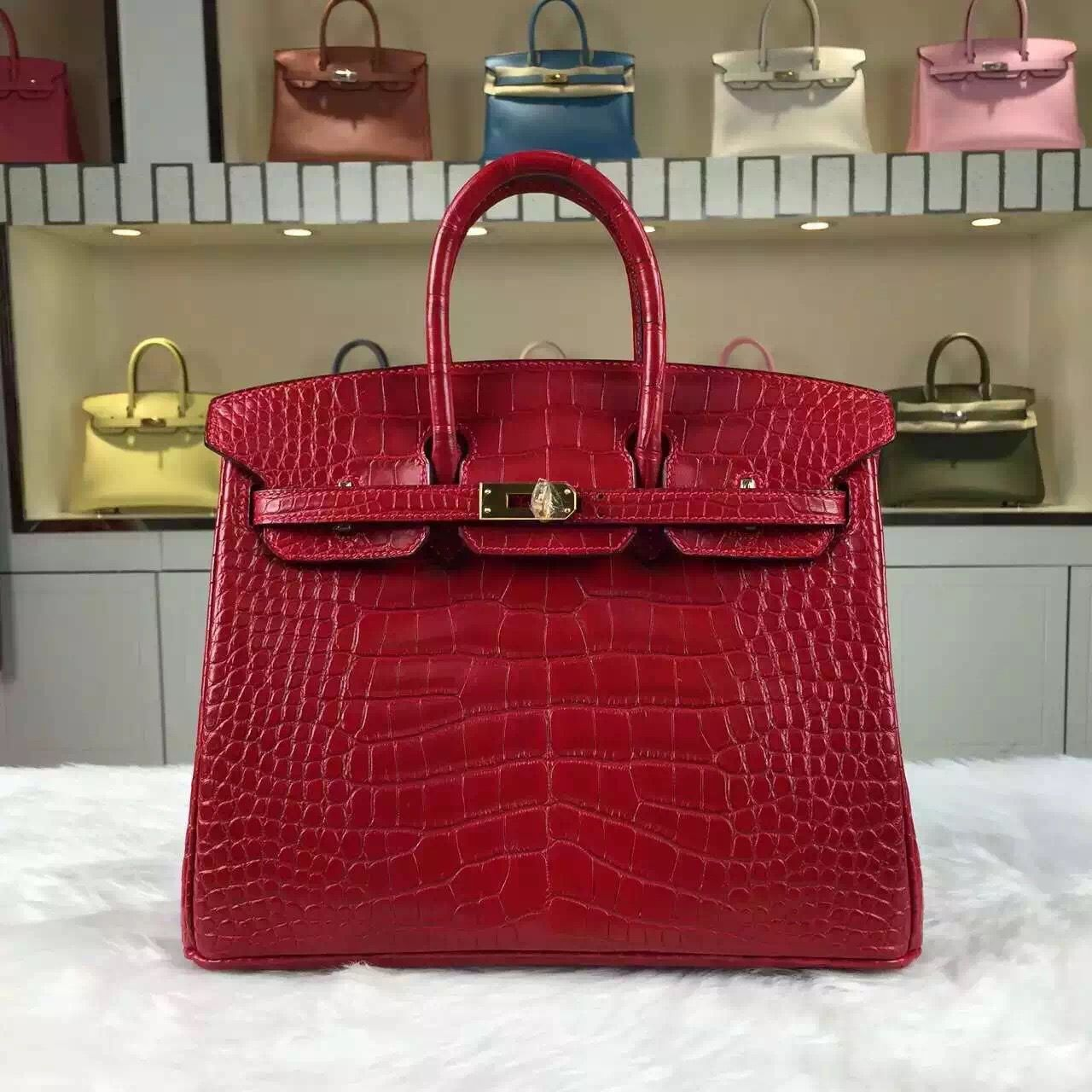 6dc2c262d62f Brand  Hermes  Style  Birkin Bag25cm  Material Crocodile Matt Leather (HCP  original leather) Color  Red  Hardware  Silver Gold  Accessories  Padlock  and ...