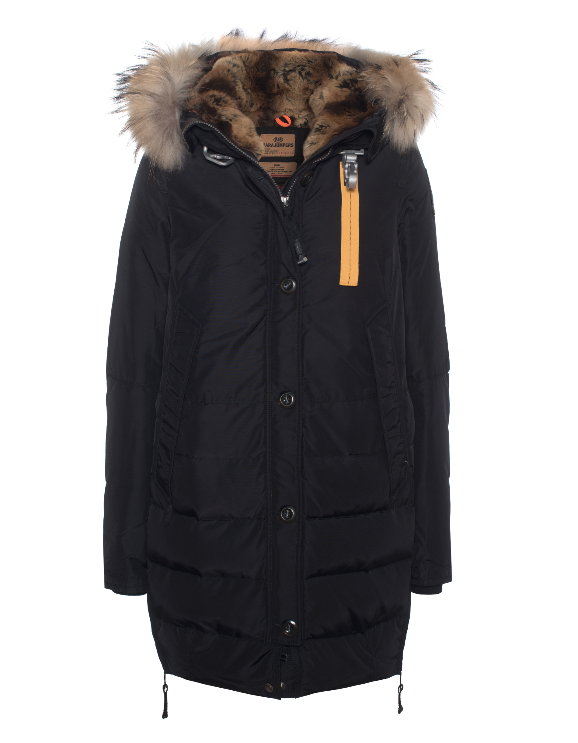 parajumpers long forbes black down parka with furred hood jackets