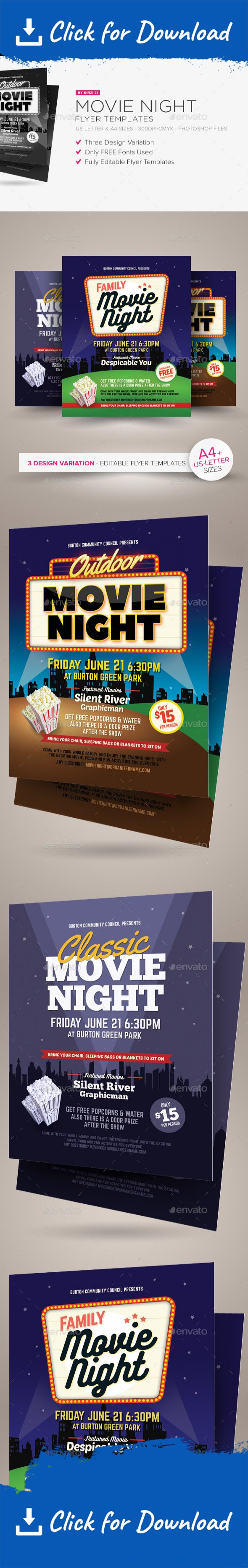 Movie Night Flyer Templates | Flyer template, Add remove and Template