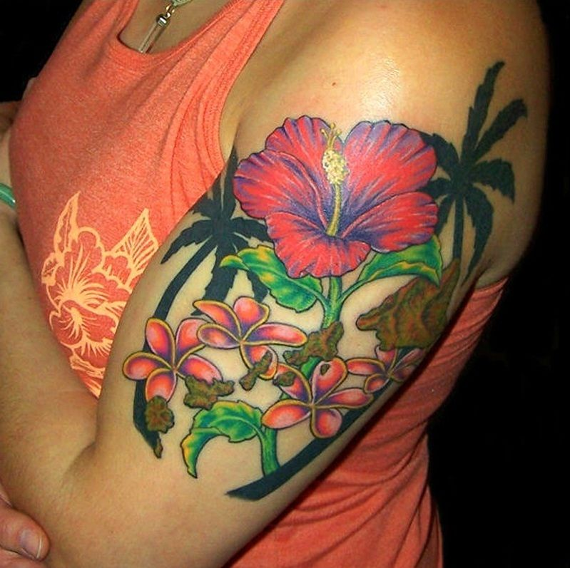 50 Best Hawaiian Flower Tattoos Designs With Meanings: Hawaiian Flower Tattoo Design