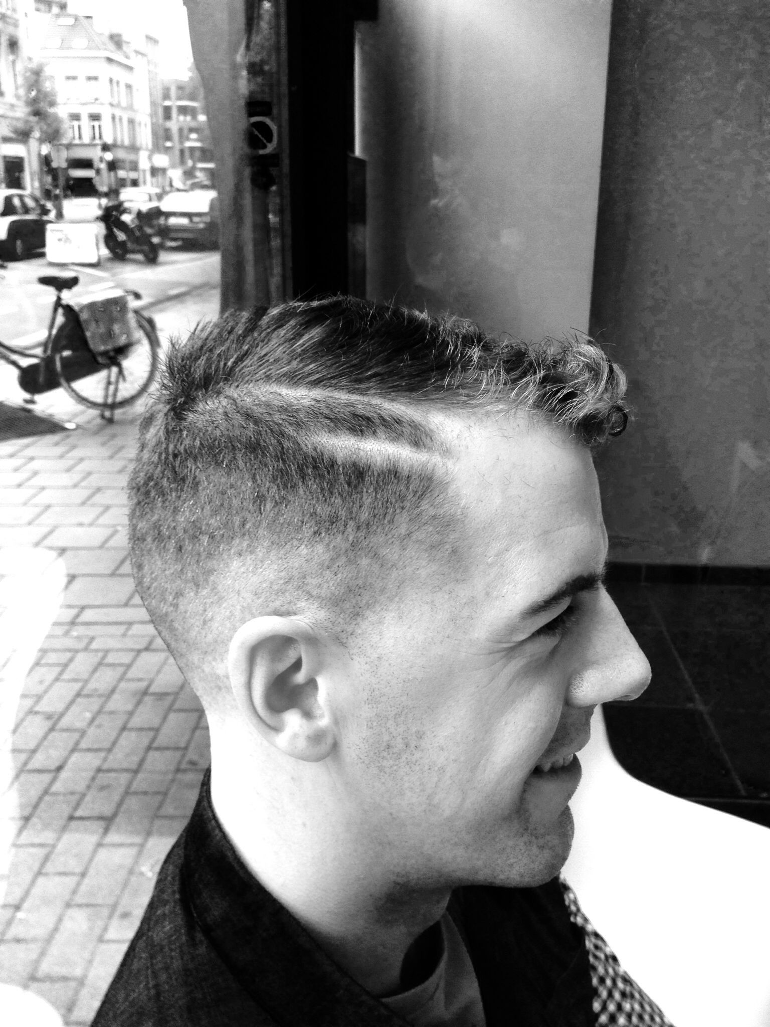 Bowl cut haircut men double sideparting shaved with fade  hair  pinterest
