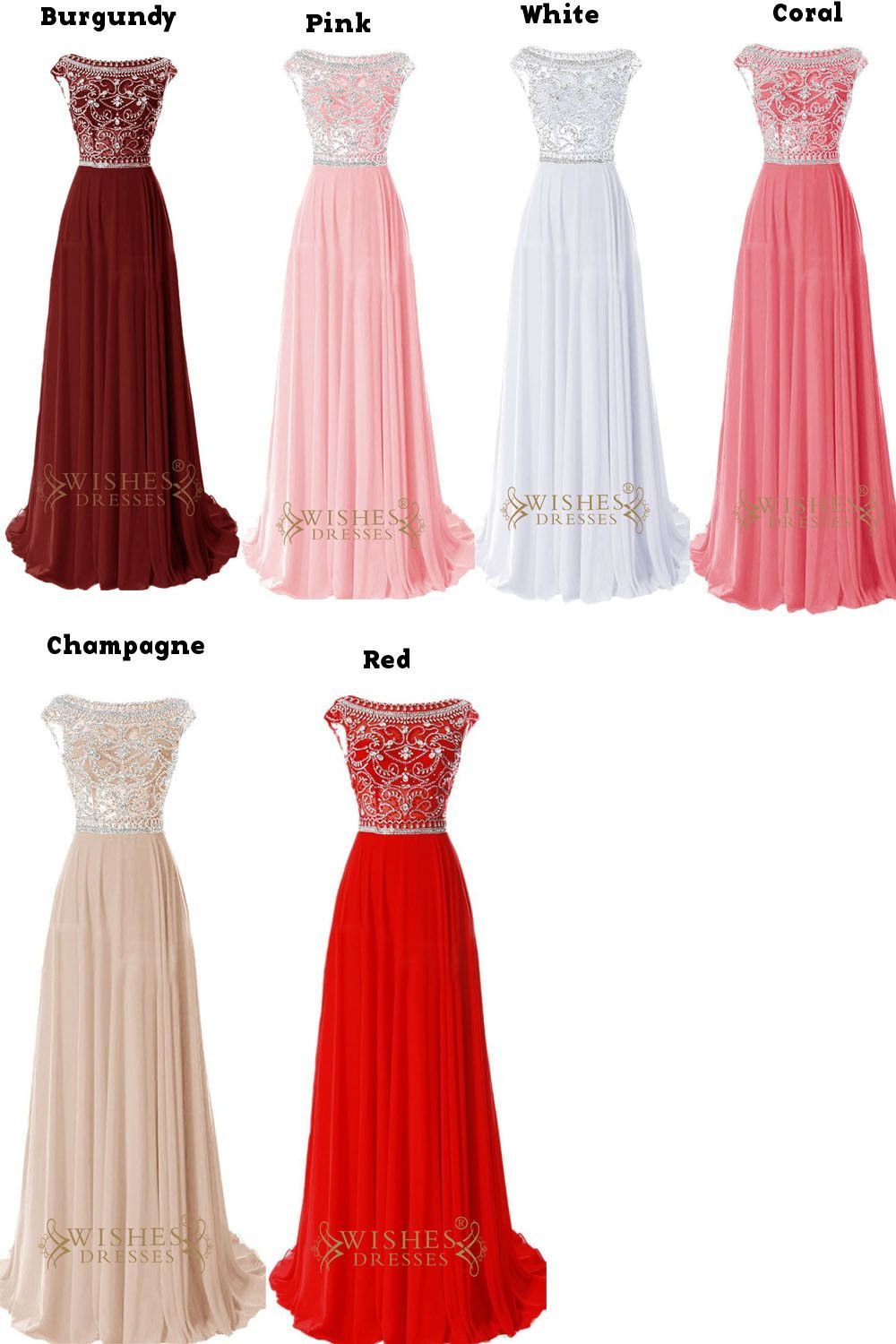 Delicated beaded bodice red chiffon long prom dresses am