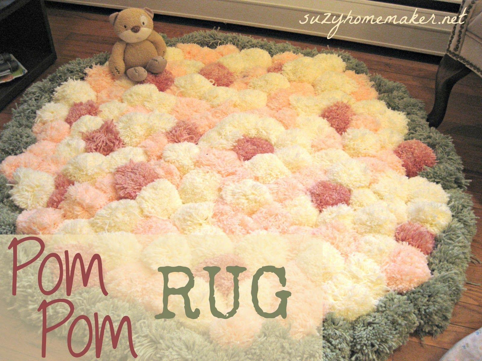 Como hacer una alfombra de pompones labores pinterest for Tejidos de alfombras