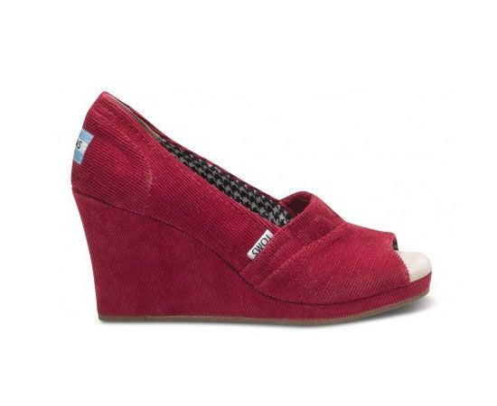 TOMS Cheap Sherry Cord Wedges For Women Sale