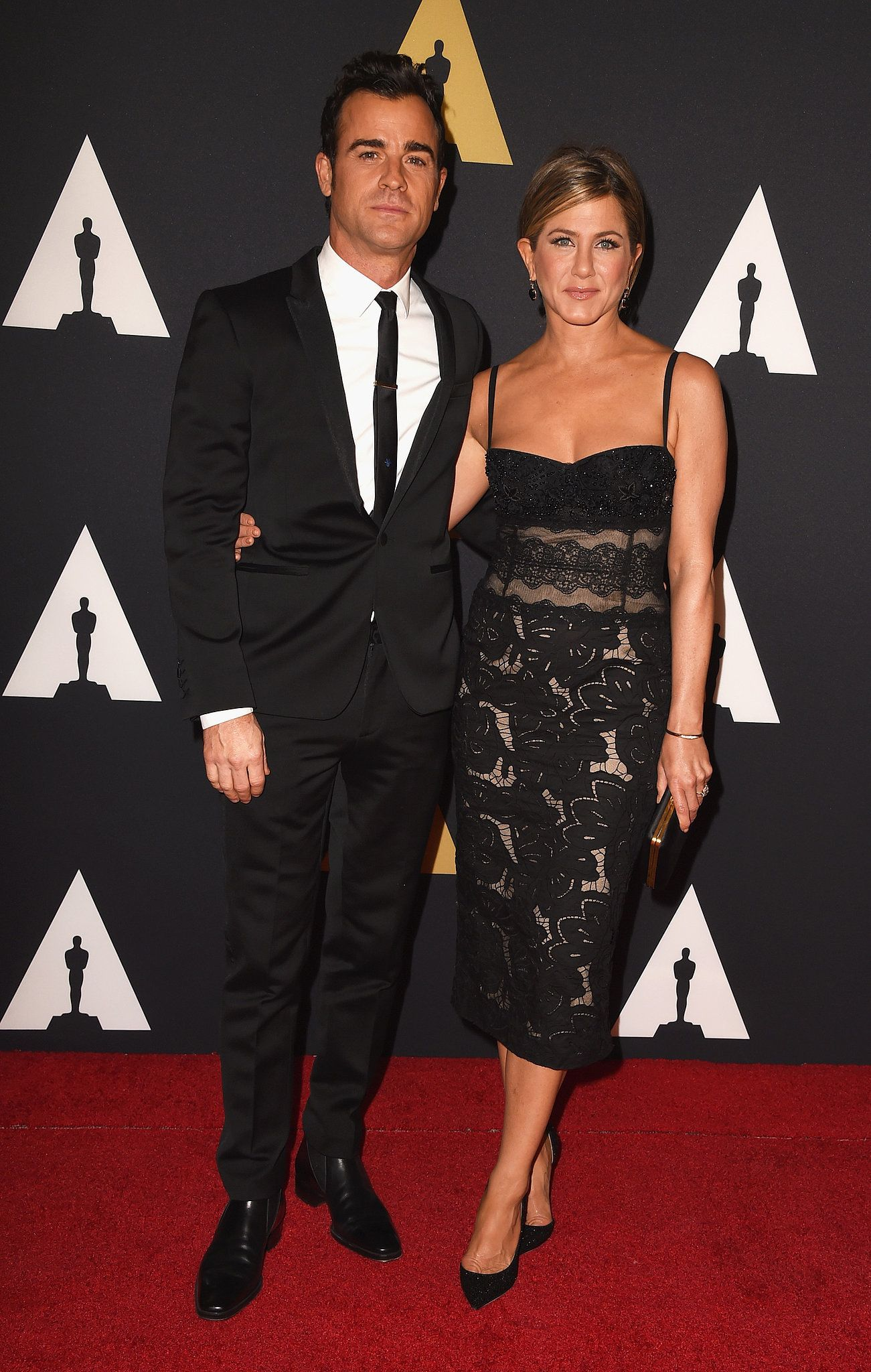Jennifer Aniston and Justin Theroux at the 2014 Governors Awards at the Ray Dolby theater in Hollywood on Nov 8, 2014